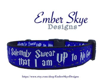 "Harry Potter ""I Solemnly Swear That I Am Up To No Good"" Blue Adjustable Dog Collar 1"" Wide"