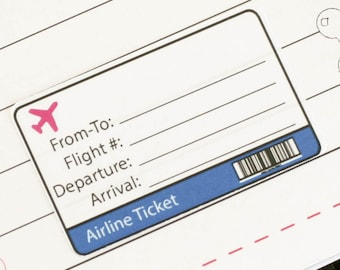 Flight stickers [Filofax, Mulberry, A6, A5, Pocket, Personal, Planner Inserts]
