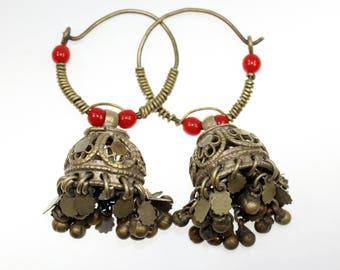 Tribal Earrings, Vintage Brass Tribal Nomad Hoop Earweights, 1 Pair Tribalpendants, Tribal Fusion, Cosplay Supply Jewelry
