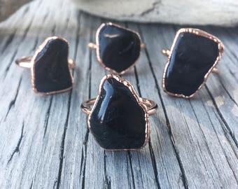 Black Tourmaline Ring | Black Tourmaline Statement Ring | Stone Ring | Statement Ring | Electroform Ring | Crystal Ring | Black Ring