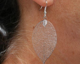 Silver color leaf earrings