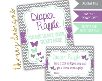 Butterfly Baby Shower Diaper Raffle Tickets and Sign - INSTANT DOWNLOAD - Gray, Lavender and Mint - Digital File - J005
