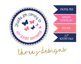 Butterfly Baby Shower Thank You Favor Tags - INSTANT DOWNLOAD - Navy Blue, Pink and Coral - Digital File - J003
