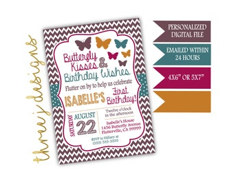 Butterfly Birthday Party Invitation - Brown, Teal, Maroon and Gold - Digital File - J012