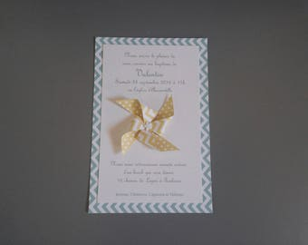 Invitation christening or birth origami wind mill - yellow and Mint handmade
