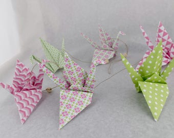 Vertical Garland 6 cranes graphic patterned origami - pink green - baby girl's room wall decor
