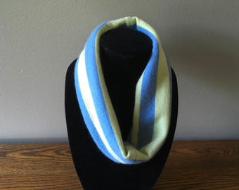 Upcycled cashmere single loop infinity scarf #65. Lime green and periwinkle blue felted cashmere cowl. Cashmere neckwarmer