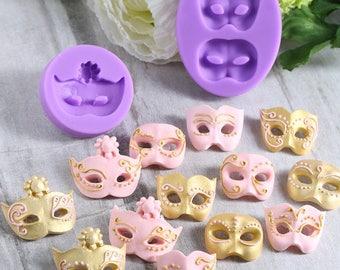Masquerade Ball Mardi Gras Silicone Embed Mold  for Soap Cupcakes Cakes Crafts