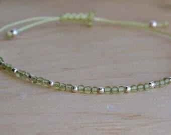 Peridot Bead Bracelet silver