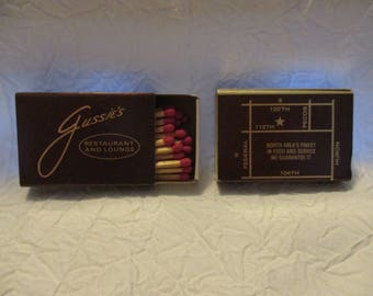 Collectible Tobacciana Match Boxes- 2 Gussie's Restaurant and Lounge