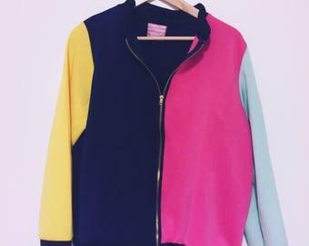 Colourblock zip up jacket size M