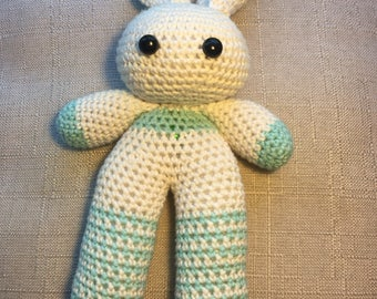 Baby crochet Rabbit toy with rattle