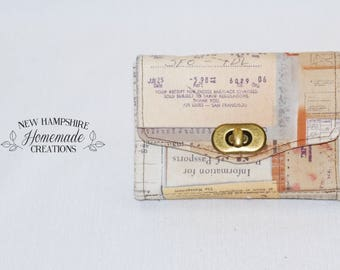 The Mini Necessary Clutch Wallet - NCW - Vintage Papers Fabric