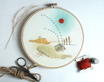 Cycle Contemporary Embroidery Hoop Art, 6""