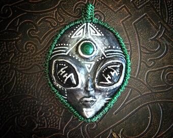 Alien pendant with malachite crystal decore