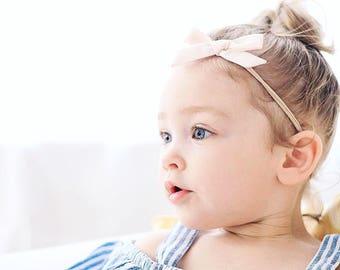 baby girl headband, newborn headband, baby headband, toddler headband, baby headbands, Newborn Baby Bow, Baby Girl. CREAM Schoolgirl Bow