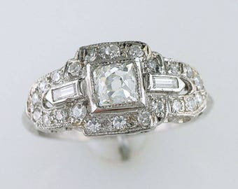 Antique GIA Certified 1ct French Cut Diamond Platinum Art Deco Engagement Ring