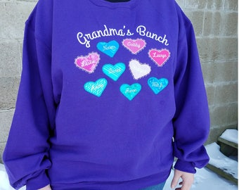 Personalized Heart Theme Sweatshirt - Embroidered & Applique Design With Names