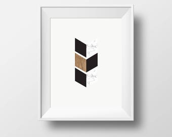 marble Wall art, wood wall art, cubic wall print, arrow wall print, black and white framed prints, framed ikea prints