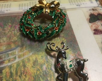 Two Holiday Pins Wreath and Reindeer