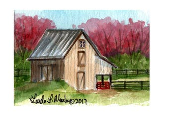 Brown Barn Baby Nursery llmartin Original ACEO New Mom  Watercolor New Mom Free Shipping USA Child Children