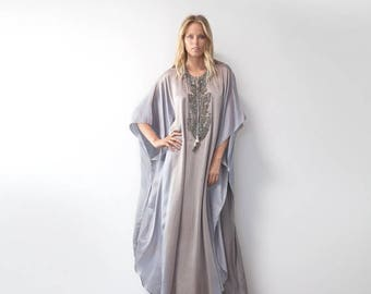 40% OFF Summer SALE Beaded front tie dye silk caftan