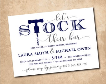 Stock the Bar Invitation printable shower/ digital, classic, simple, navy, gray, couples stock the bar/Digital File/wording can be changed