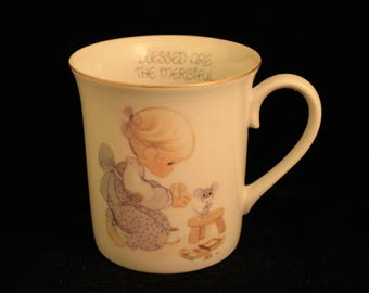 """Vintage Precious Moments Coffee Mug or Tea Cup """"Blessed Are The Merciful"""" Girl with Mouse 1978"""