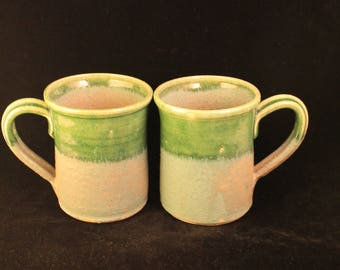 Pair Vintage Handmade Green Pottery Mugs Signed Rustic Primitive