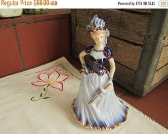 KPM Porcelain Blue Lady Umbrella Figurine Circa 1900's Antique Figurine German Cabinet Home Decor Collectible - Col048