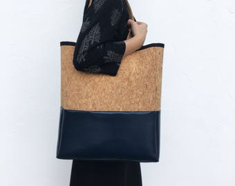 Pb_bag, leather bag in navy and cork colour, handmade, totebag
