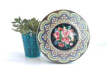 Mid Century Tin Made in Holland, Vintage Cookie or Sewing Tin Made in Holland, Vintage Floral Tin