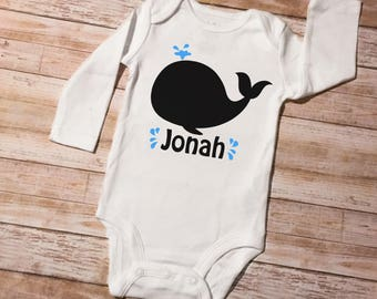 Personalized Boys Name Whale Long Sleeve Newborn Baby Toddler Bodysuit Birthday Baby Shower Nursery Match Cute Character Shirt Clothes
