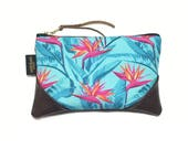 Mini Bold Turquoise Bird of Paradise Zipper Pouch / Mini Clutch with inside lining and Suede Zipper Pull or Leather Wristlet Strap