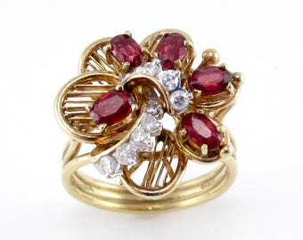 Vintage Ruby and Diamond Floral Ring