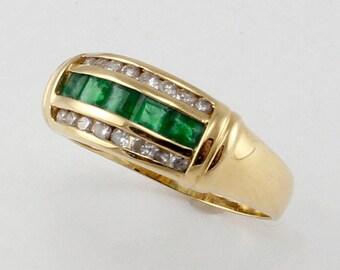 Emerald and Diamond Yellow Gold Band