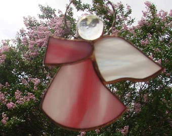 Angel Ornament - Handmade Stained Glass Pink Angel
