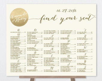 Alphabetical Seating Chart Sign DIY / Gold Sparkle Wedding Sign / Metallic Gold and Cream Sign ▷ Personalized and emailed printable file