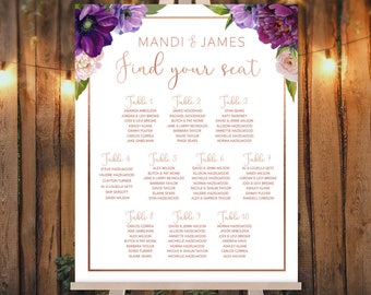 Purple Wedding Seating Chart Sign /  Purple Flowers, Anemone, Ranunculus, Peony, Rose Gold Wedding ▷ Printed Paper, Canvas {or} Printable