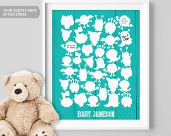 Monster Birthday Guest Book Alternative / Teal Monster Guest Book, Cuddly Monsters / Monster Poster Wall Decor ▷Canvas, Paper {or} Printable