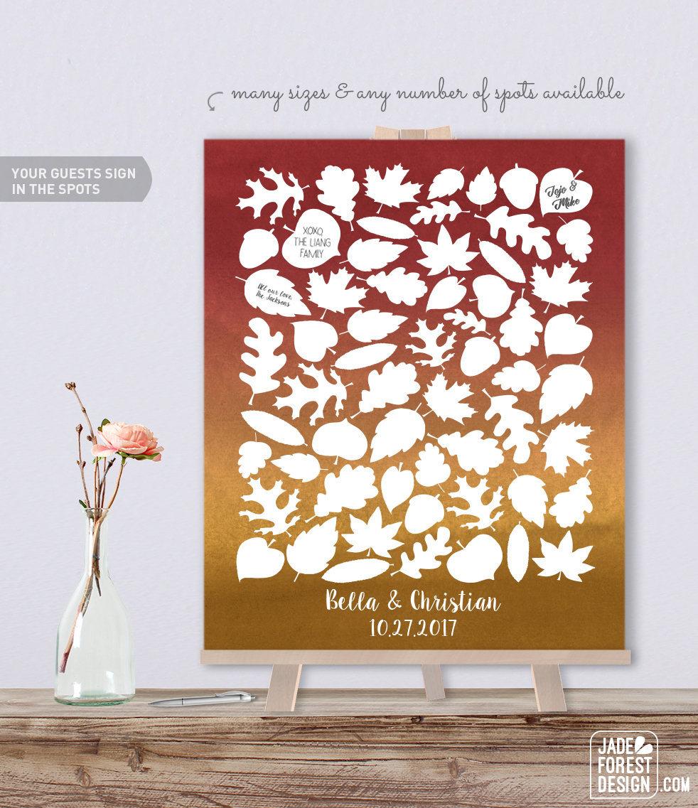 purple wedding guest book alternative fall leaves maple leaf