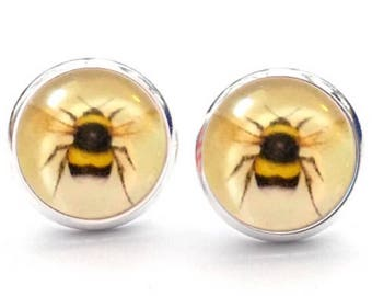 Bumble Bee Wildlife Honey  Queen Bees Bee Keeper Stud Earrings. Silver Plated 10mm. Available as cufflinks