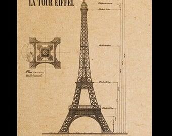 Eiffel Tower Wall Art paris eiffel tower poster . vintage stamp prints . a3 size.