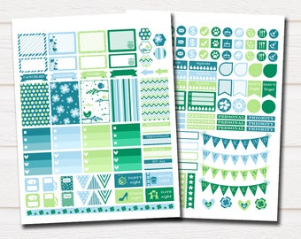 Stickers planner, planner accessories, spring planner stickers, green sticker, march planner stickers