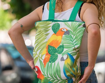 Fabric backpack with parrots