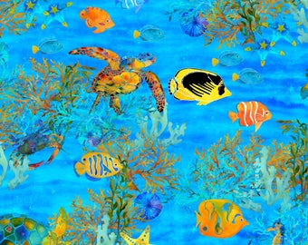 Under the Sea by 3 Wishes - Sea Life - Cotton Woven Fabric - Digitally Printed