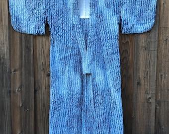 Vintage Japanese Indigo Shibori Cotton Kimono