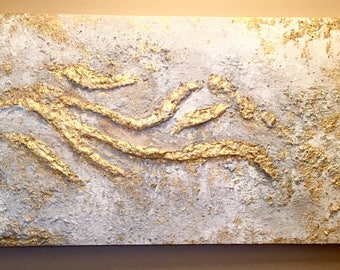 Large Gold Relief Texture Abstract Painting