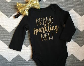 Brand Sparkling New onesie headband set, baby gift set, baby girl, newborn gift, baby girl coming home outfit, gold bow, black onesie