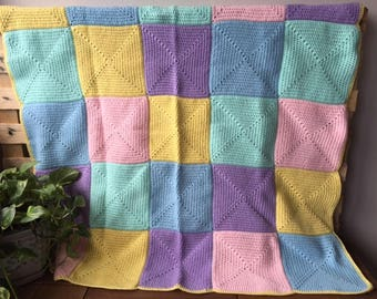 Handmade Crochet Blanket Throw Afghan, lounge gift bedding gift, pastel pink blue lilac yellow, patchwork, housewarming gift, Etsy Australia